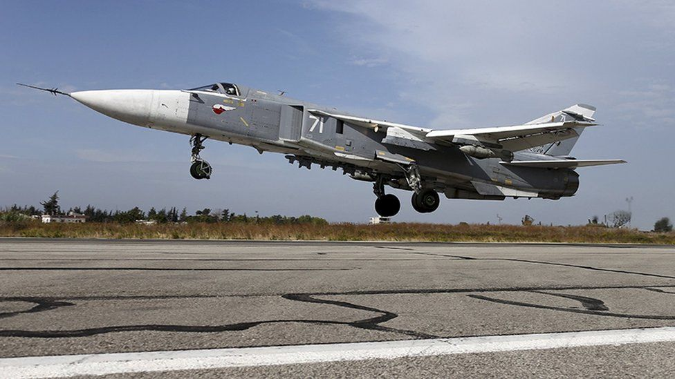 File photo showing a Sukhoi Su-24 fighter jet takes off from the Hmeymim air base near Latakia, Syria (22 October 2015)