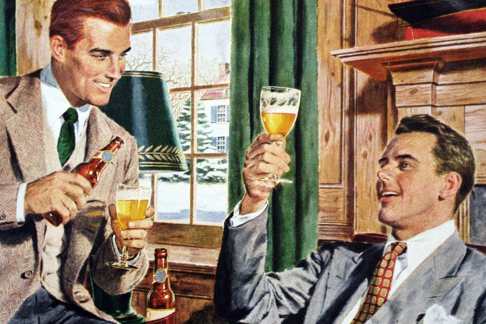 Two professional American men drinking beer in a suburban home, c. 1945. Screen print.