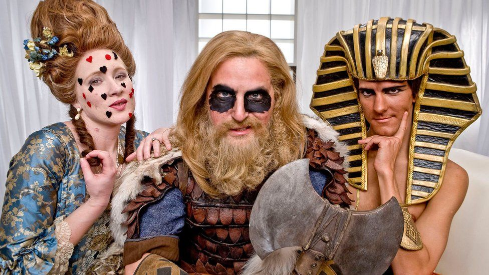 Martha Howe-Douglas as Georgian woman, Ben Willbond as Viking Man and Mathew Baynton as Egyptian man