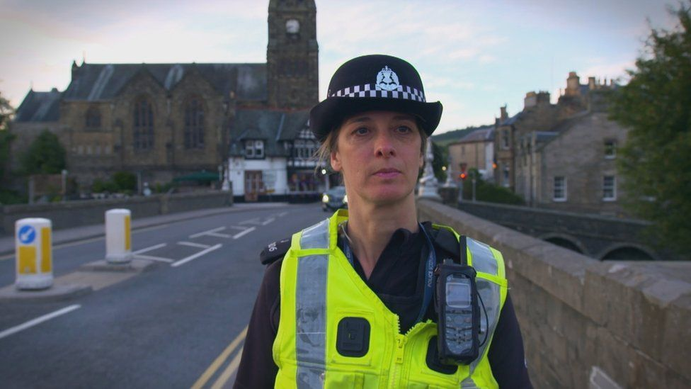 PC Diane Sorrell on patrol in Peebles