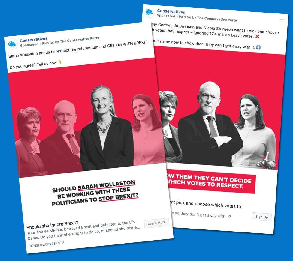 Two Conservative ads about Brexit