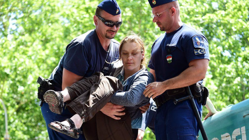 An activist is lifted by policemen from a digger at the biggest public park in Budapest (6 July)