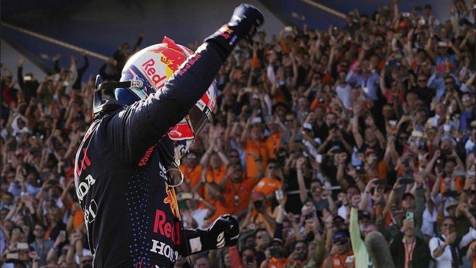"Red Bull""s Max Verstappen celebrates after winning the Dutch Grand Prix"