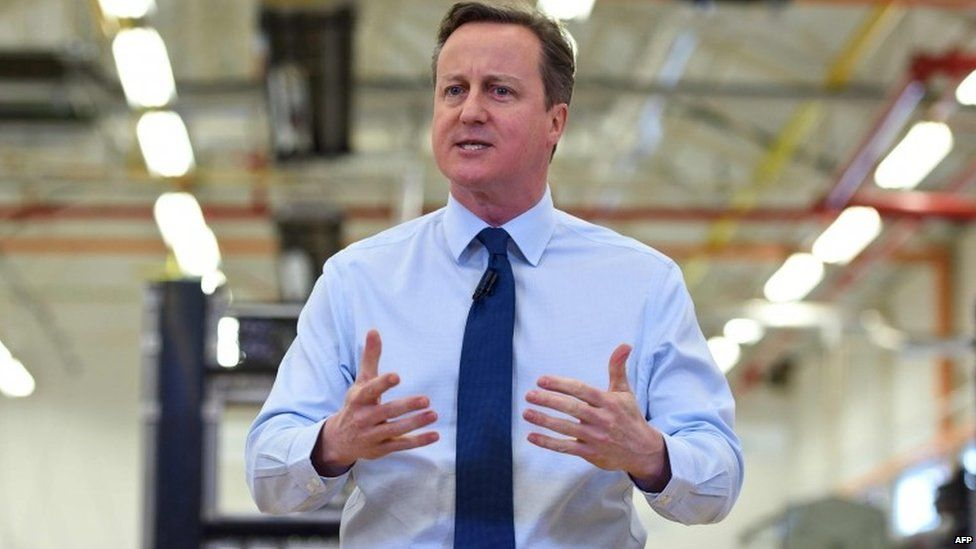 David Cameron speaking at the Siemens factory in Wiltshire on 2 February