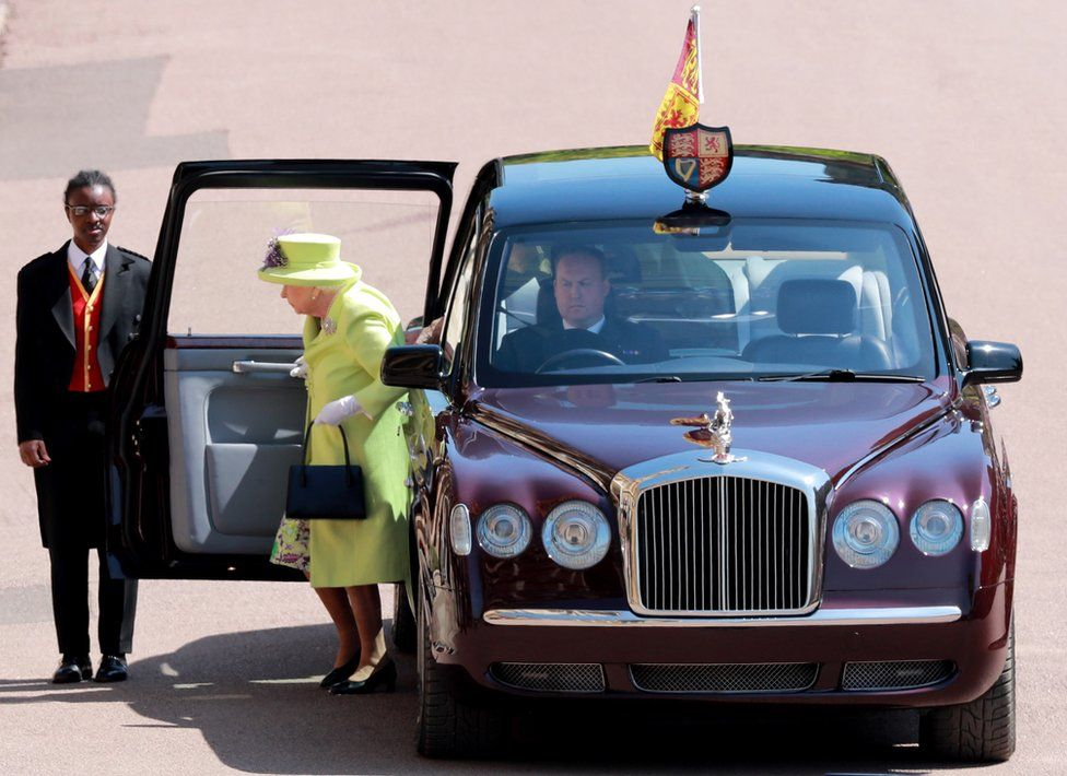 Queen Elizabeth II arrives for the royal wedding ceremony