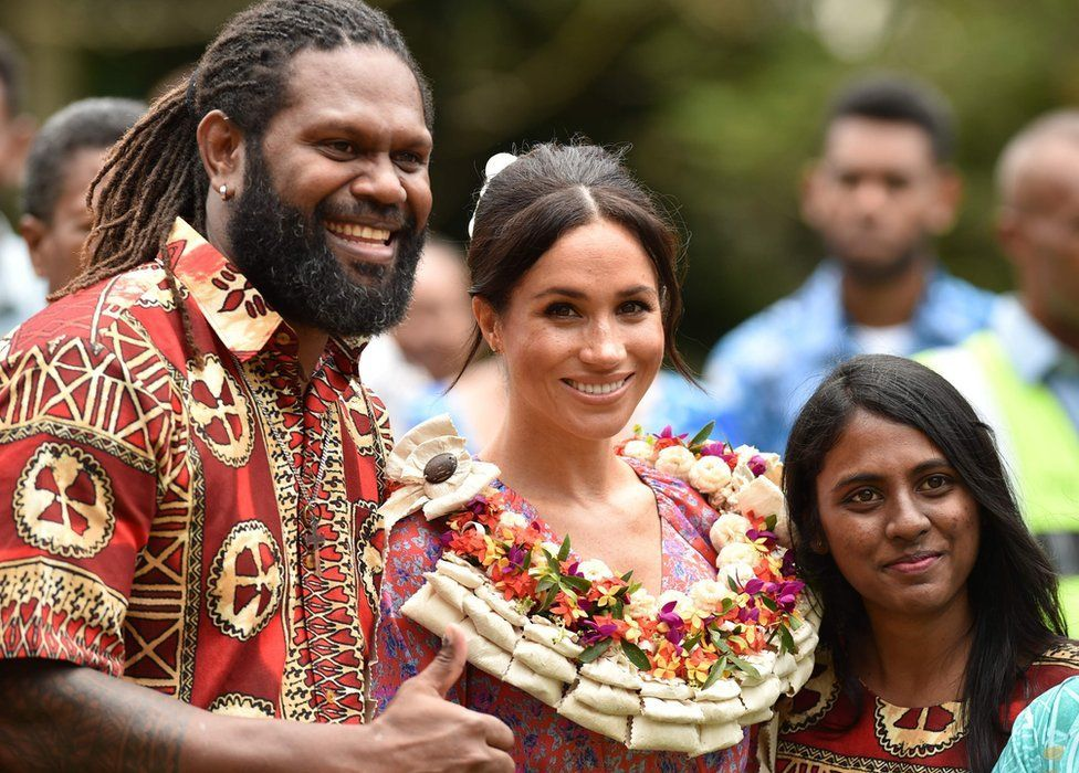 Meghan attends a morning tea reception at the British High Commissioner's Residence in Suva, Fiji