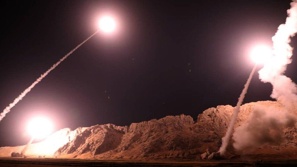 Handout provided by Iran's Revolutionary Guards shows missiles being launched from an undisclosed location targeting Islamic State militants in eastern Syria (1 October 2018)