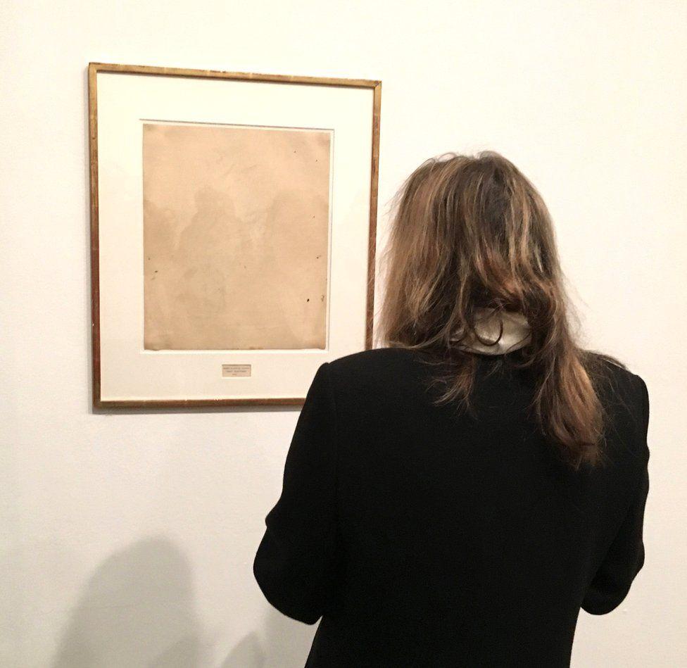 Erased de Kooning Drawing by Robert Rauschenberg