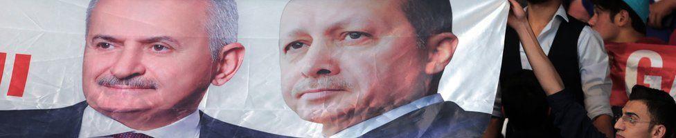 A banner of Binali Yildirim (left) and Recep Tayyip Erdogan at the AKP congress in Ankara, 22 May