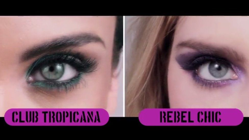 Screengrab showing closeups of eye makeup