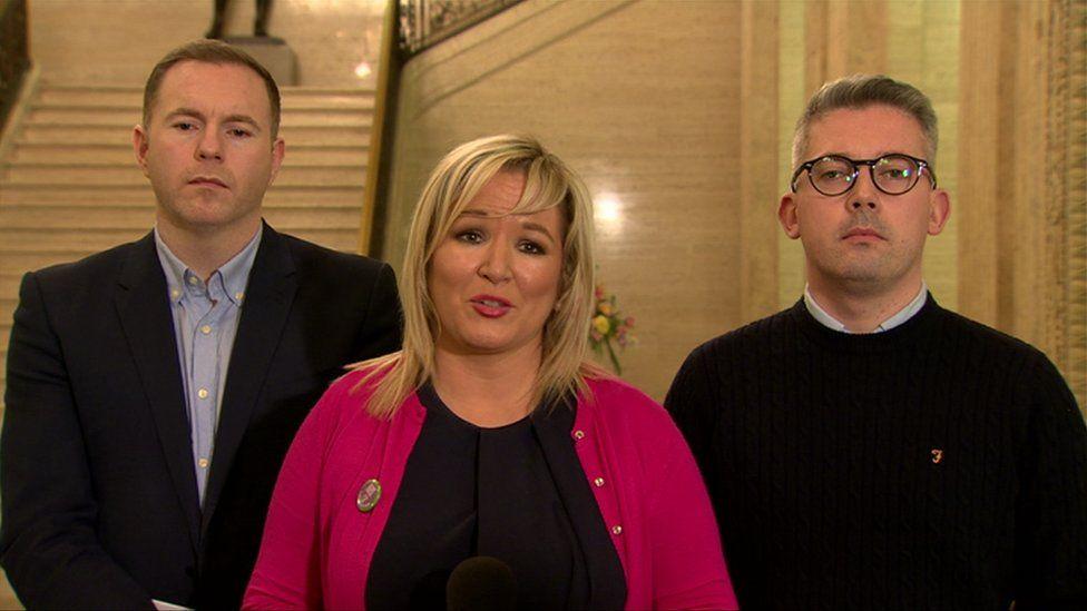 Chris Hazzard, Michelle O'Neill and Niall Ó Donnghaile
