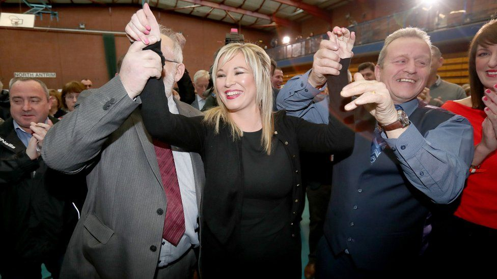 Michelle O'Neill, Sinn Féin's Northern leader, celebrates winning her seat at the Seven Towers Leisure Centre, Ballymena