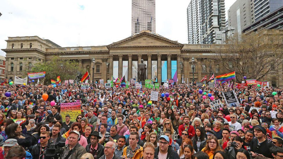 Same-sex marriage advocates hold a rally in Melbourne last month