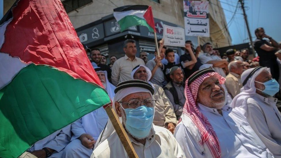Palestinians in Gaza City protest against Israel's annexations plans (1 July 2020)