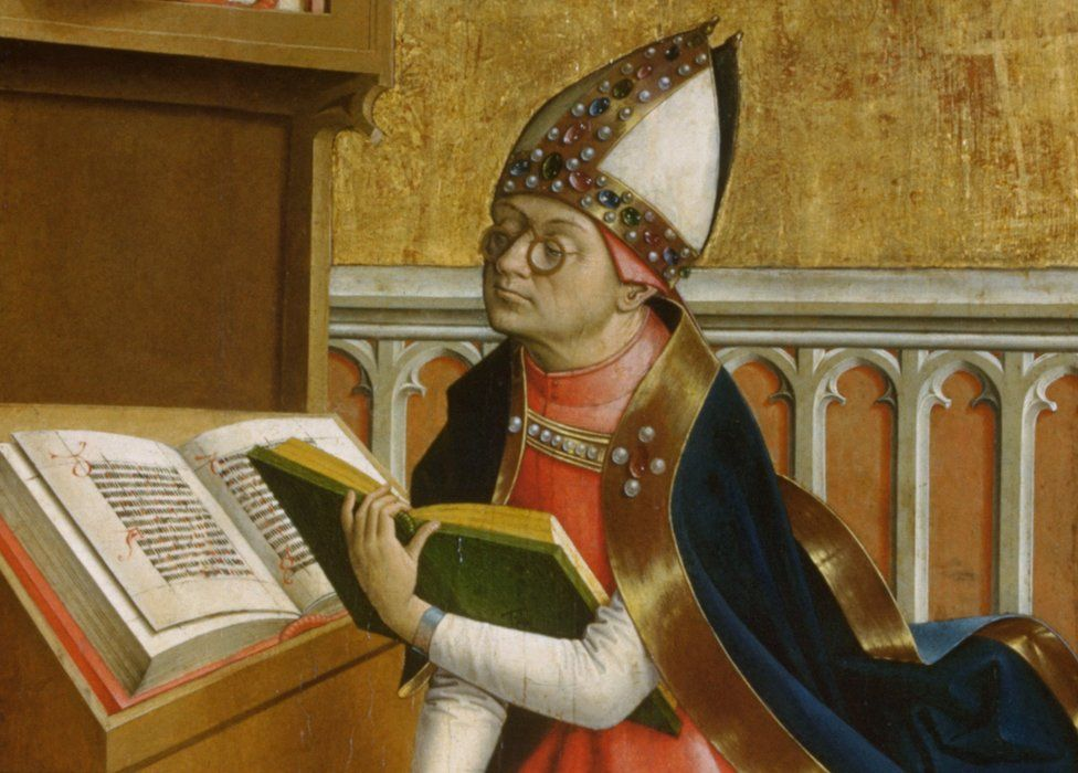 Saint Augustine pictured wearing glasses in a 1498 painting by the Austrian painter known as the Master of Grossgmain