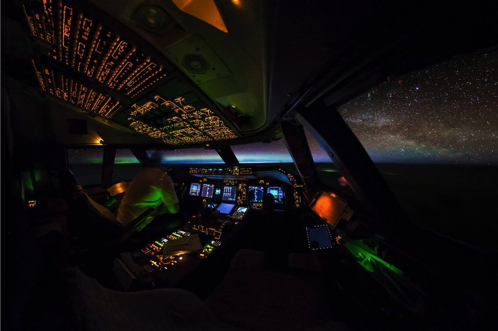 The cockpit at night