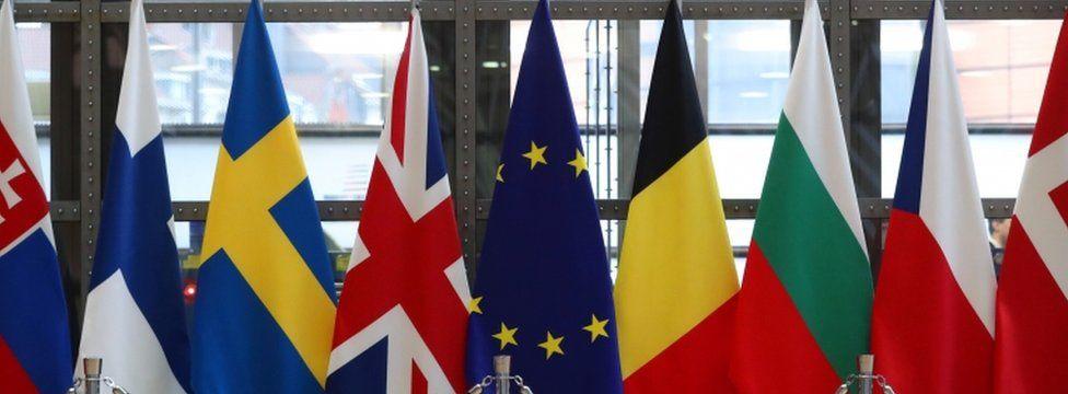 Flags at EU Council meeting