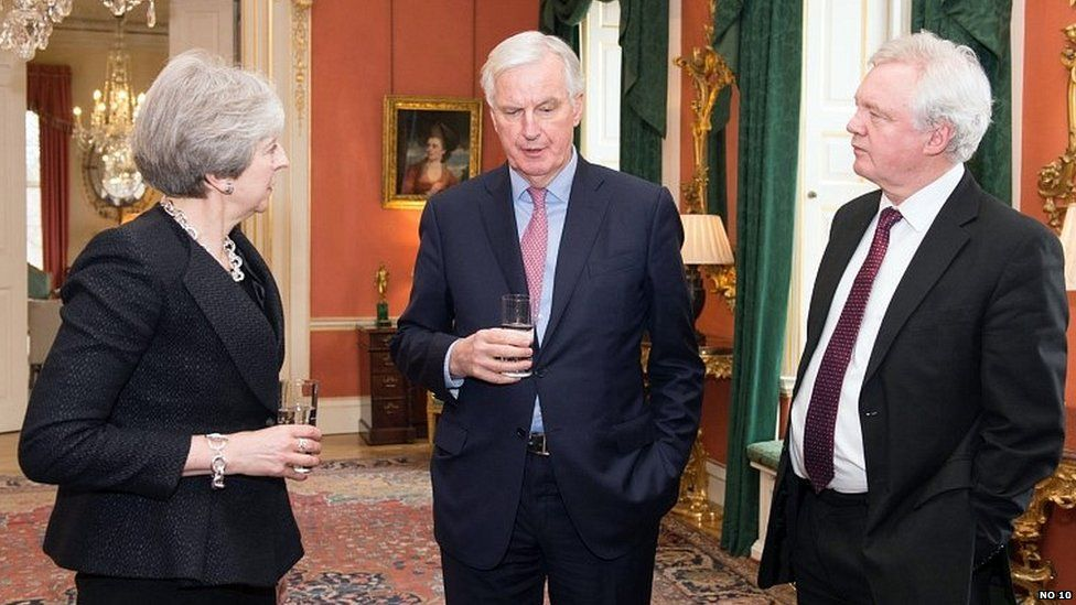 Michel Barnier with Theresa May and David Davis in Downing Street