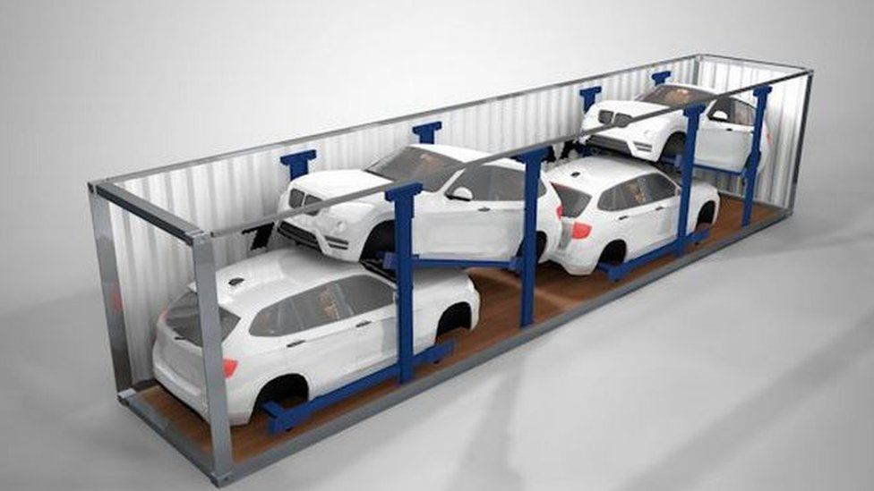 Mock up image of cars in shipping container