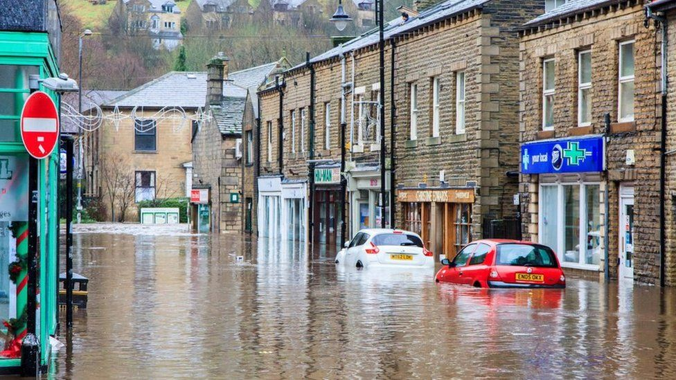 Flooding in Hebden Bridge on Boxing Day 2015