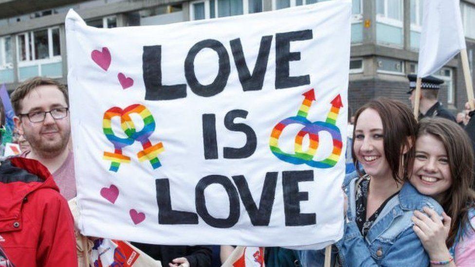 """Love is love"" flag at Glasgow Pride"
