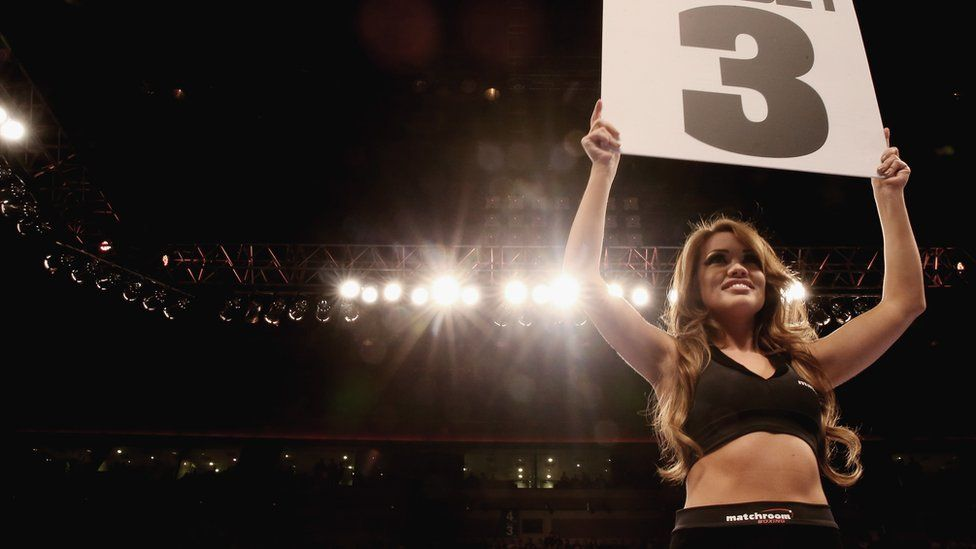 A ring girl at Liverpool's Echo Arena