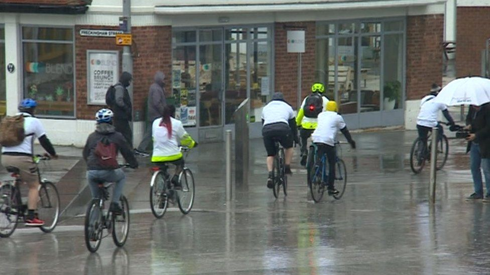 Cyclists who took part in the charity ride