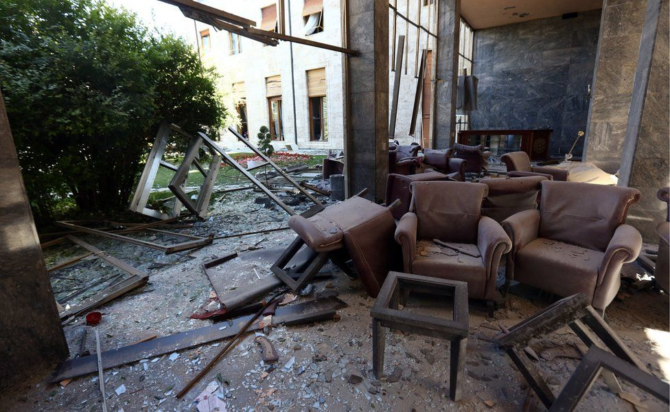"""Damage caused by military helicopter bombardments inside Turkey""""s parliament near the Turkish military headquarters in Ankara, Turkey, Saturday, July 16, 2016"""