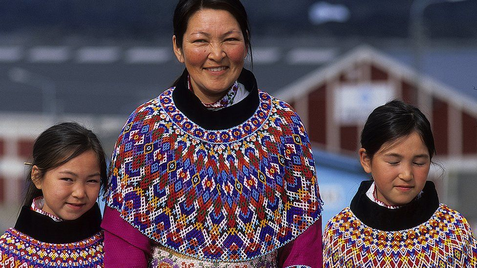 Inuit family in Greenland