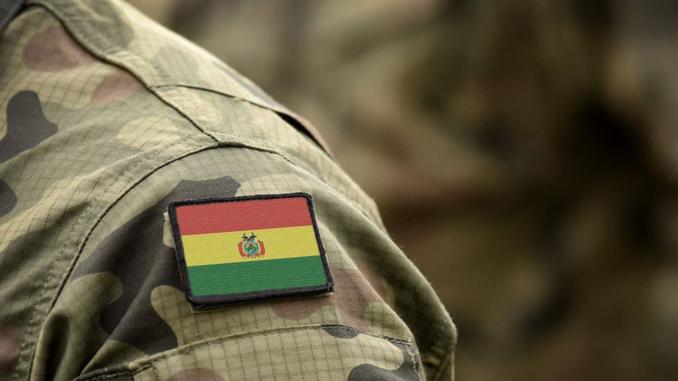 The Bolivian flag on a military uniform