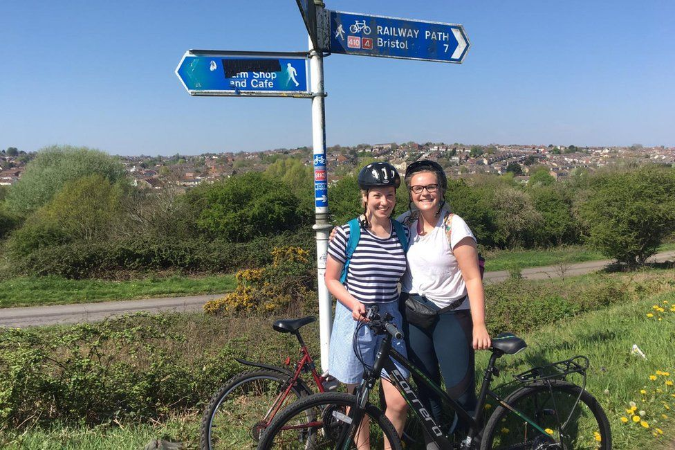 Saskia Breet (left) and friend, on a cycle ride