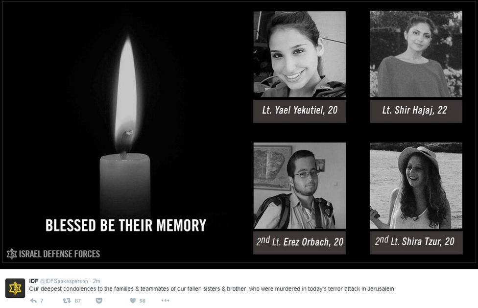"Screengrab of IDF tweet showing pictures of four soldiers who died and saying: ""Our deepest condolences to the families and teammates of our fallen sisters and brother, who were murdered in today's terror attack in Jerusalem."""
