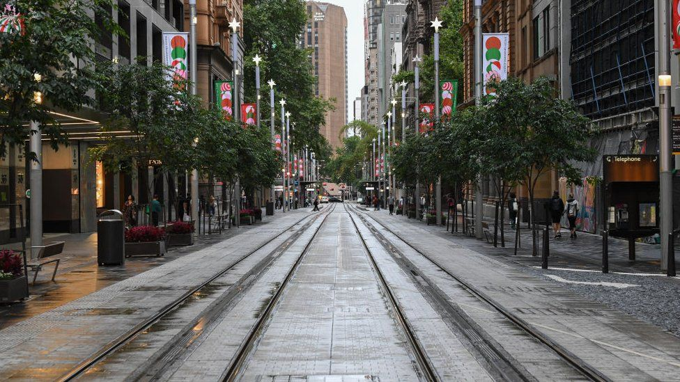 An empty George Street in the CBD as residents of Greater Sydney are asked to consider staying at home