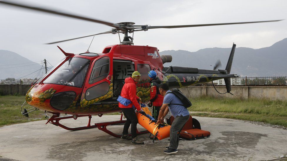 The body of Swiss climber Ueli Steck arrives at the helipad of Teaching Hospital in Kathmandu, Nepal, 30 April 2017