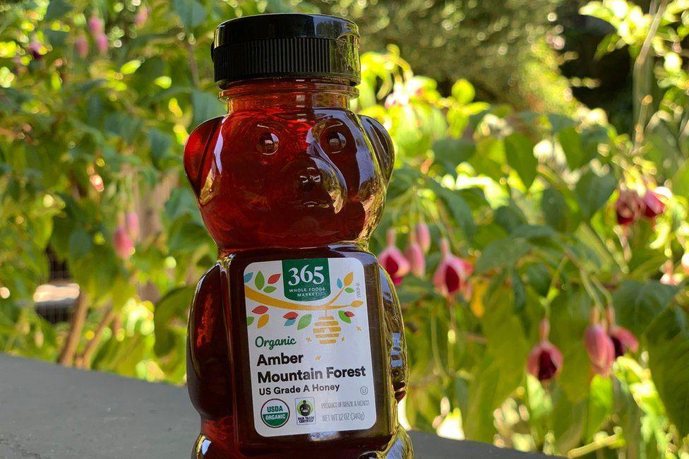 A bottle of Grade A honey
