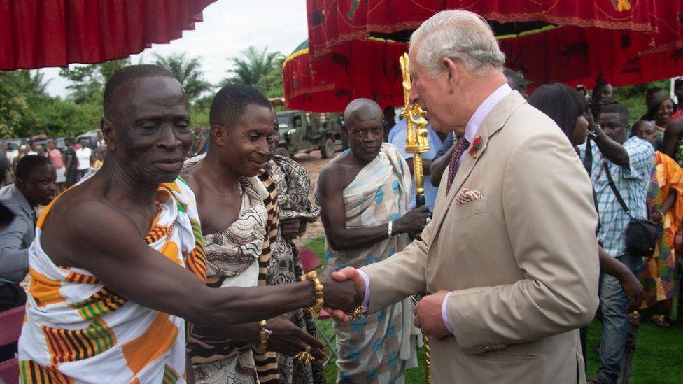 Prince Charles, Prince of Wales tours a Cocoa Farm on November 4, 2018 in Kumasi, Ghana. The Prince was greeted by the Livelihoods and Climate Adviser for D.F.I.D. Ghana, Mr. Nicholas Baynham, the Chief of Kona, Nana Konadu Yiadom Kumanin IV and was accompanied by the farm owner, Mr. Agyin Brefo