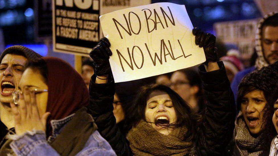 Demonstrators protest President Donald Trump's executive immigration ban on February 1, 2017 in Chicago, Illinois.
