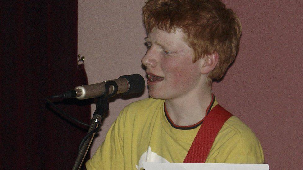 Ed Sheeran performing in 2005.