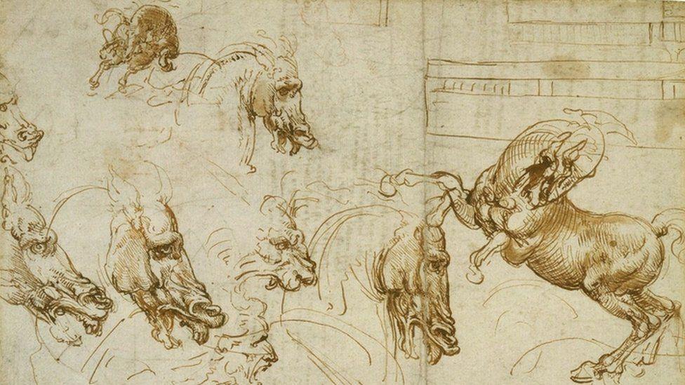 Leonardo da Vinci - Expressions of fury in horses, a lion and a man, c.1503-04