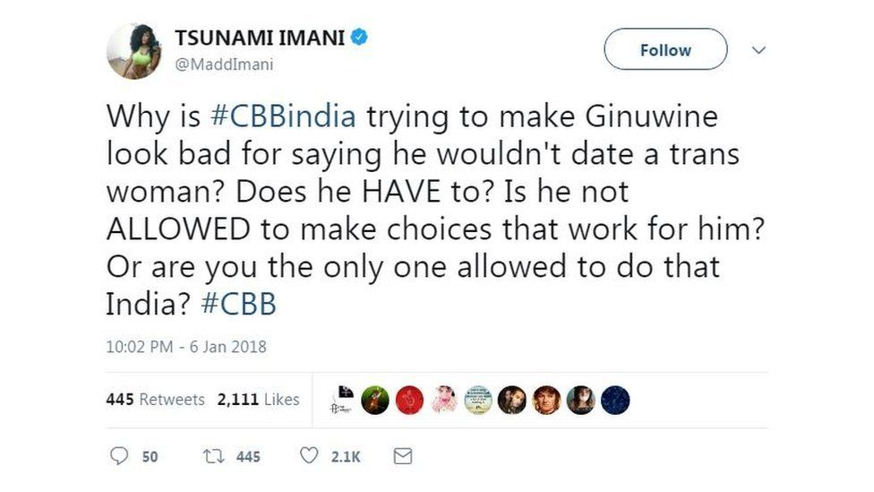 A tweet claiming Ginuwine should be allowed to say he wouldn't date trans woman