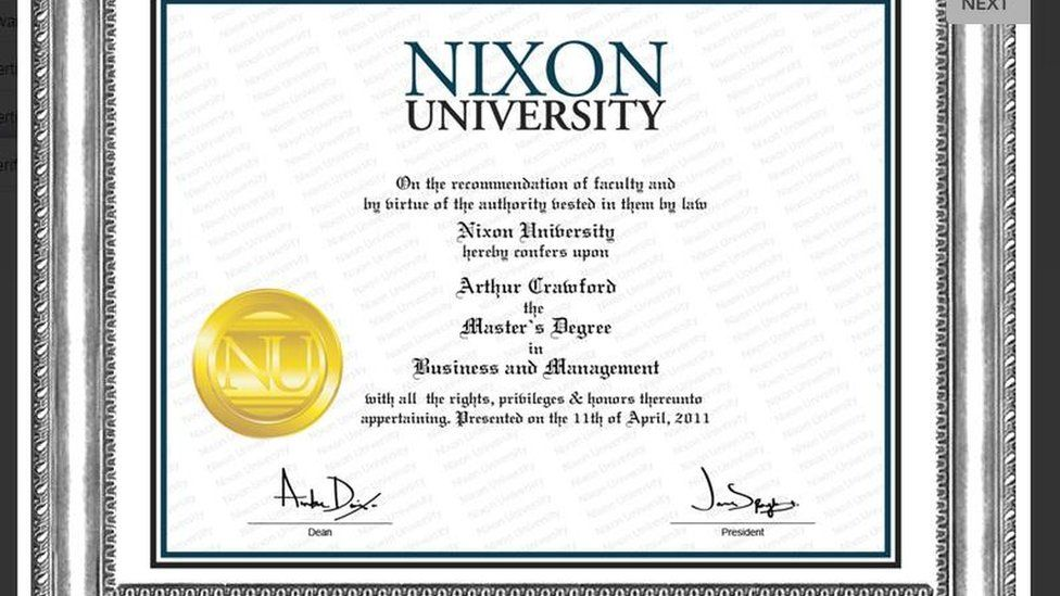 The fake degree certificate offered to a BBC reporter