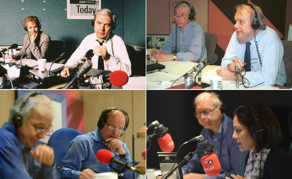 Humphrys presenting Today with (clockwise from top left), Sue McGregor, Brian Redhead, Mishal Husain and James Naughtie