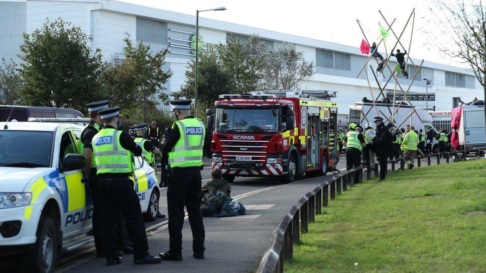 Protesters at a blockade near the Broxbourne printing press