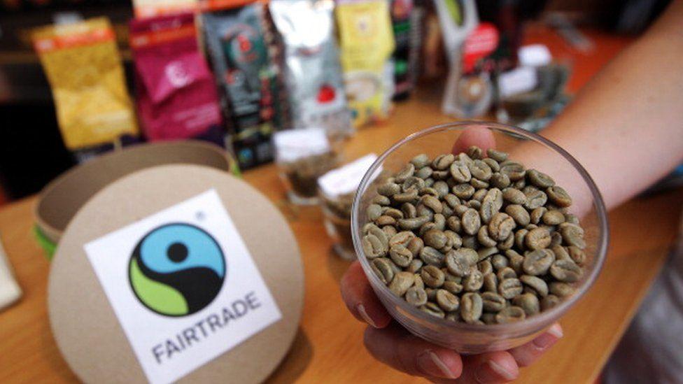 Coffee beans and Fairtrade logo