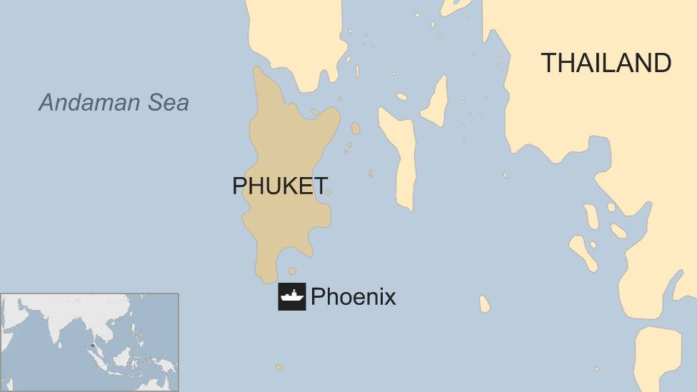 Map showing the location of the sunken Phoenix passenger vessel off the coast of Phuket, Thailand