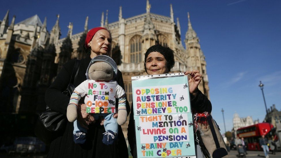 Pensioners protesting outside Parliament