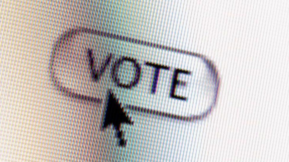 Vote button on computer screen