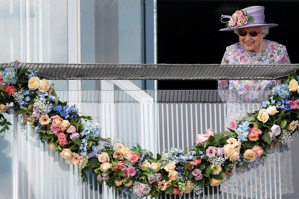 Queen Elizabeth looks on during Derby Festival