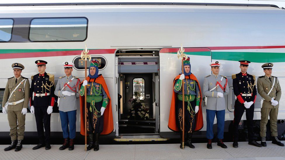 Guards at the launch of the a high speed train in Tangiers, Morocco - Thursday 15 November 2018