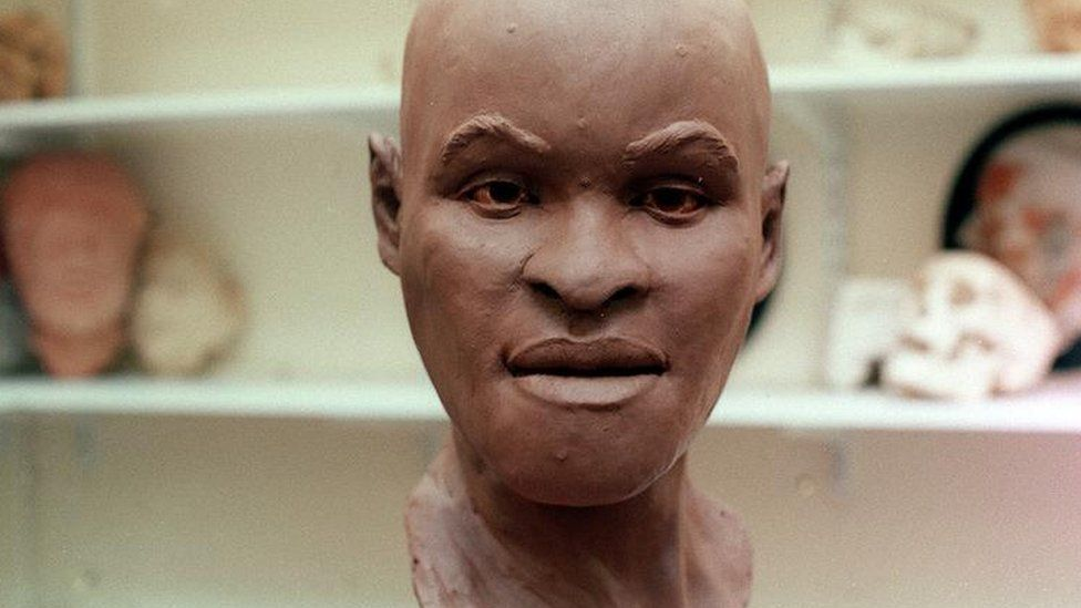 A reconstruction of Luzia's head in Clay in 1999